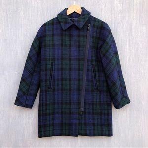 J. Crew Petite zippered coat in black watch tartan